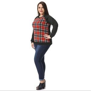 Boutique Sweaters - Plaid Colorblock Plus Size Long Sleeve Sweater